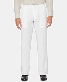 Men's Flat Front Textured Linen Pants
