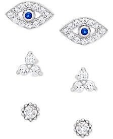3-Pc. Set Evil Eye & Cubic Zirconia Stud Earrings in Sterling Silver