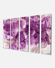 "Designart Purple Amethyst Macro Canvas Wall Art Print - 60"" X 28"" - 5 Panels"