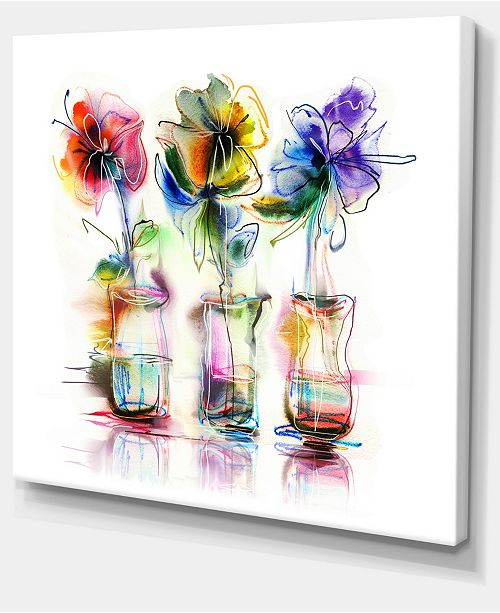 """Design Art Designart Abstract Flowers In Glass Vases Extra Large Floral Wall Art - 20"""" X 12"""""""