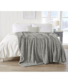 Ultra Soft Sherpa Stretch Knitted Solid  Blanket - Twin