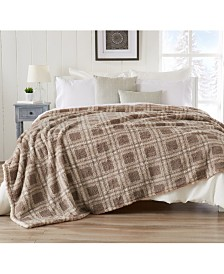 Ultra Soft Sherpa Stretch Knitted Printed  Blanket - King