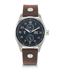 Frye Mens' Bowery Cognac Leather Strap Watch