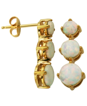 18K Gold over Sterling Silver with Lab Created Opal 3-Stone Post Earrings