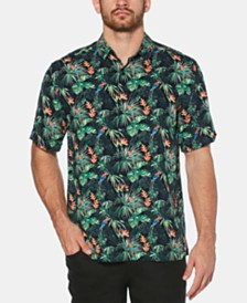 Cubavera Men's Big & Tall Tropical Parrot-Print Shirt