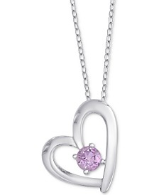"Amethyst Open Heart 18"" Pendant Necklace (1/5 ct. t.w.) in Sterling Silver"