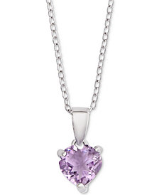 """Amethyst Heart 18"""" Pendant Necklace (1-1/6 ct. t.w.) in Sterling Silver"""