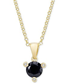 "Black Sapphire (1 ct. t.w.) & White Zircon Accent 18"" Pendant Necklace in 18k Gold-Plated Sterling Silver"