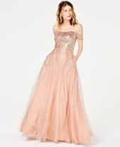 Say Yes to the Prom Juniors  Glitter Off-The-Shoulder Gown e33f00273907