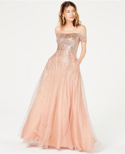 5e0ed265d49 ... Say Yes to the Prom Juniors  Glitter Off-The-Shoulder Gown