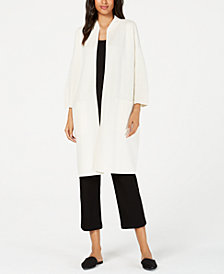 Eileen Fisher High Collar 3/4 Sleeve Long Jacket