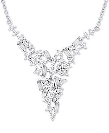 "Diamond V Collar Necklace (1 ct. t.w.) in 14k White Gold, 17"" + 2"" extender, Created for Macy's"
