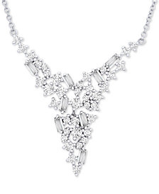 "Wrapped in Love™ Diamond V Collar Necklace (1 ct. t.w.) in 14k White Gold, 17"" + 2"" extender, Created for Macy's"