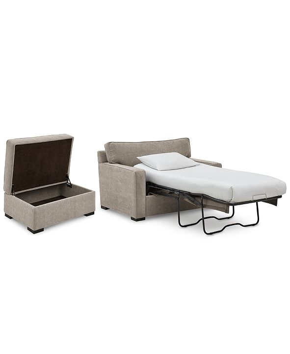 "Furniture Radley 54"" Fabric Chair Bed & 36"" Fabric Chair Bed Storage Ottoman Set, Created for Macy's"