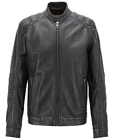 BOSS Men's Slim Fit Leather Biker Jacket