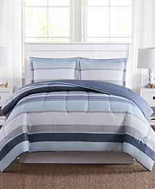 Marino Stripe Reversible 3-Pc. Comforter Mini Sets, Created for Macy's