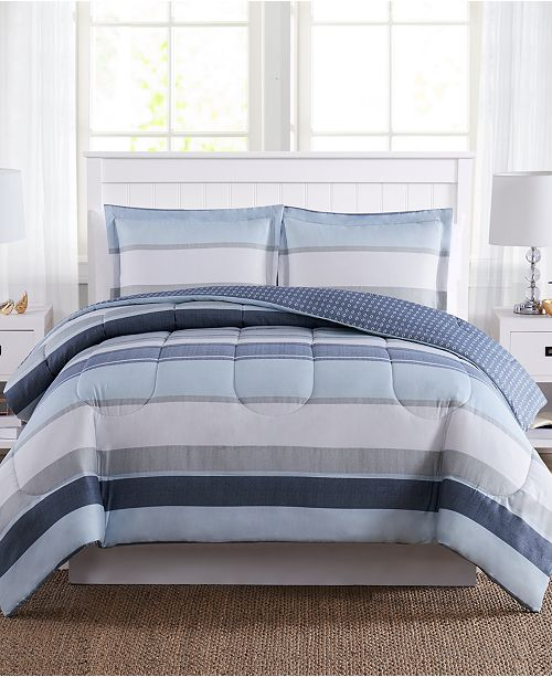 Pem America Marino Stripe Reversible 3-Pc. Comforter Mini Sets, Created for Macy's