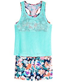 Ideology Big Girls Layered-Look Mesh Tankini Swim Top & Swim Boyshorts, Created for Macy's