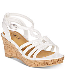 Sugar Little & Big Girls Cork-Wrapped Wedge Sandals