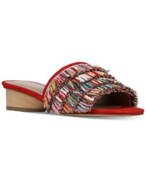 Donald Pliner Reise Raffia Fringe Low Slide Sandals In Red
