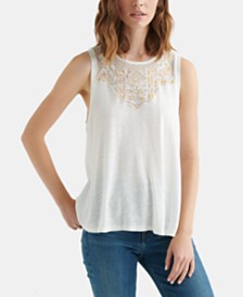 Lucky Brand Appliqué Yoke Tank Top