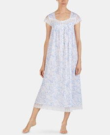 Eileen West Printed Embroidered Netting Trim Cotton Ballet Nightgown