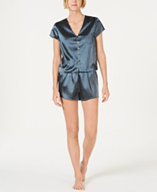 I.N.C. Printed Satin Short-Sleeve Top & Pajama Shorts Set, Created for Macy's