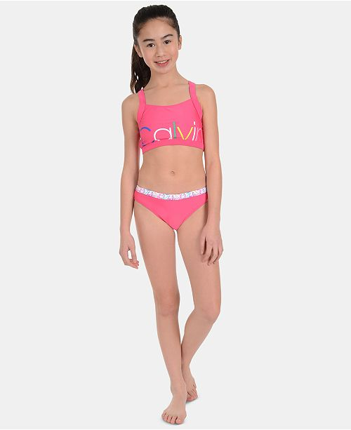 127132ba65 Calvin Klein Big Girls 2-Pc. Logo-Print Bikini Swimsuit & Reviews ...