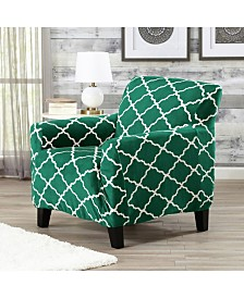Printed Velvet Plush Form Fit Stretch Chair Slipcover