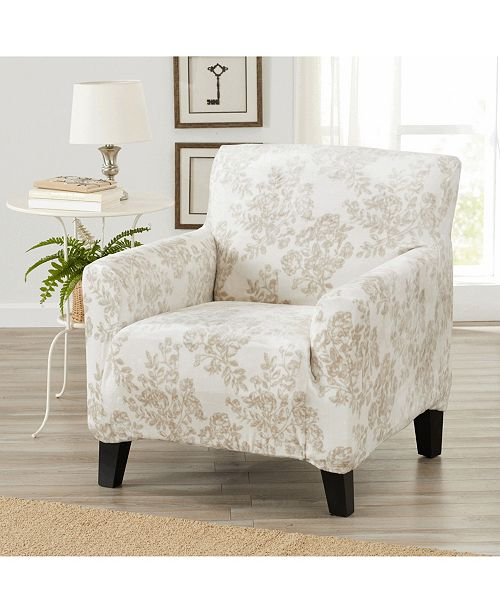Great Bay Home Fashions Velvet Plush Printed Form Fit Stretch Chair Slipcover