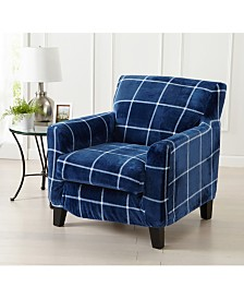 2 Piece Velvet Plush Printed Chair Slipcover