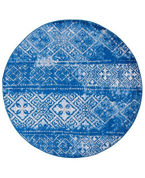Safavieh Adirondack Silver and Blue 4' x 4' Round Area Rug