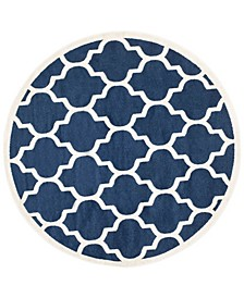 Amherst Navy and Beige 9' x 9' Round Area Rug