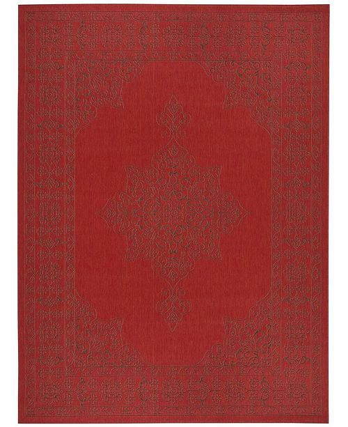 Safavieh Courtyard Red and Chocolate 9' x 12' Sisal Weave Area Rug