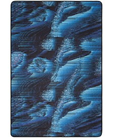 Daytona Black and Turquoise 4' x 6' Area Rug
