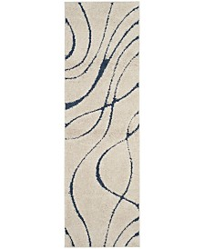 "Safavieh Shag Cream and Blue 2'3"" x 7' Runner Area Rug"
