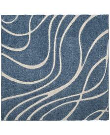 "Safavieh Shag Light Blue and Cream 6'7"" x 6'7"" Square Area Rug"