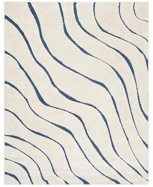 Safavieh Shag Cream and Blue 8' x 10' Area Rug