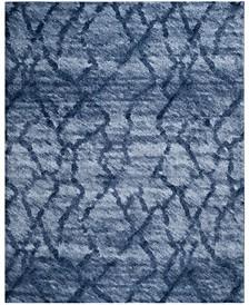 Retro Blue and Dark Blue 11' x 15' Area Rug