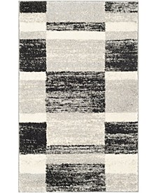 Retro Black and Light Gray 3' x 5' Area Rug