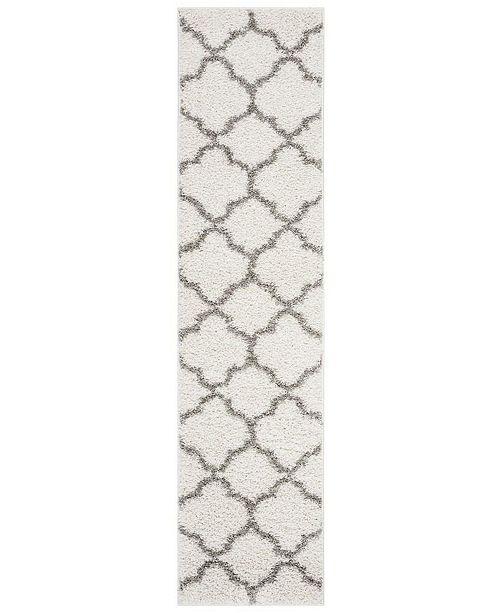 Safavieh New York Shag Ivory and Grey 2' X 8' Runner Area Rug