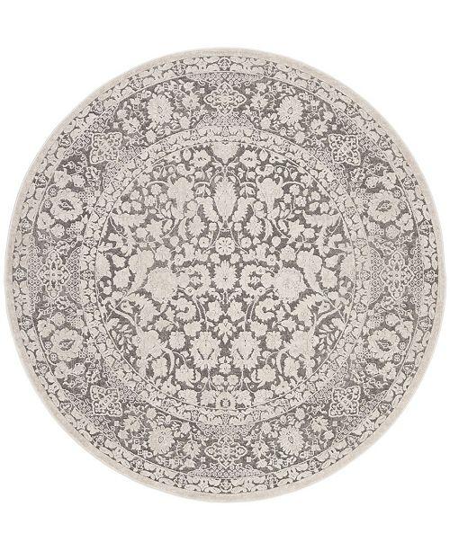 "Safavieh Reflection Dark Gray and Cream 6'7"" x 6'7"" Round Area Rug"