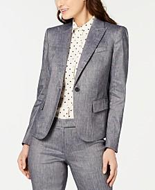Anne Klein One-Button Twill Jacket