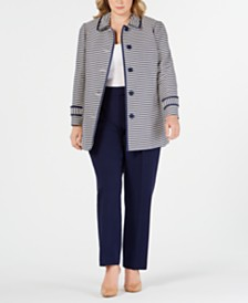 Anne Klein Plus Size Striped Button-Front Jacket