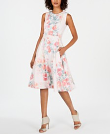 Calvin Klein Floral Printed Lace Fit & Flare Dress