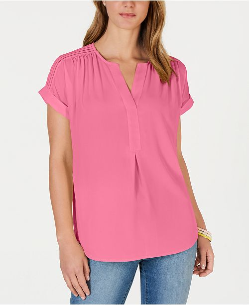 Charter Club Split-Neck Popover Top, Created for Macy's