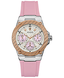 GUESS Women's Zena Pink Silicone Strap Watch 39mm