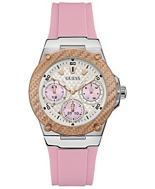 GUESS Women's  Pink Silicone Strap Watch 39mm