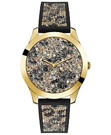 GUESS Women's Black Animal Print Silicone Watch Embellished with Crystals from Swarovski® 42 MM