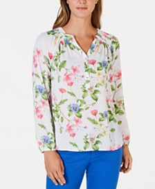 Charter Club Petite Floral-Print Smocked Top, Created for Macy's
